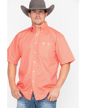 George Strait by Wrangler Coral Geo Print Short Sleeve Shirt , Coral, hi-res