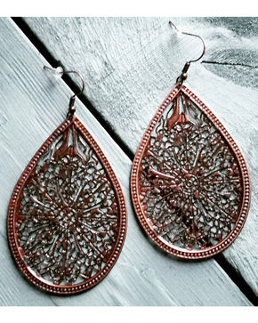 Jewelry Junkie Women's Copper Filigree Teardrop Earrings , Rust Copper, hi-res