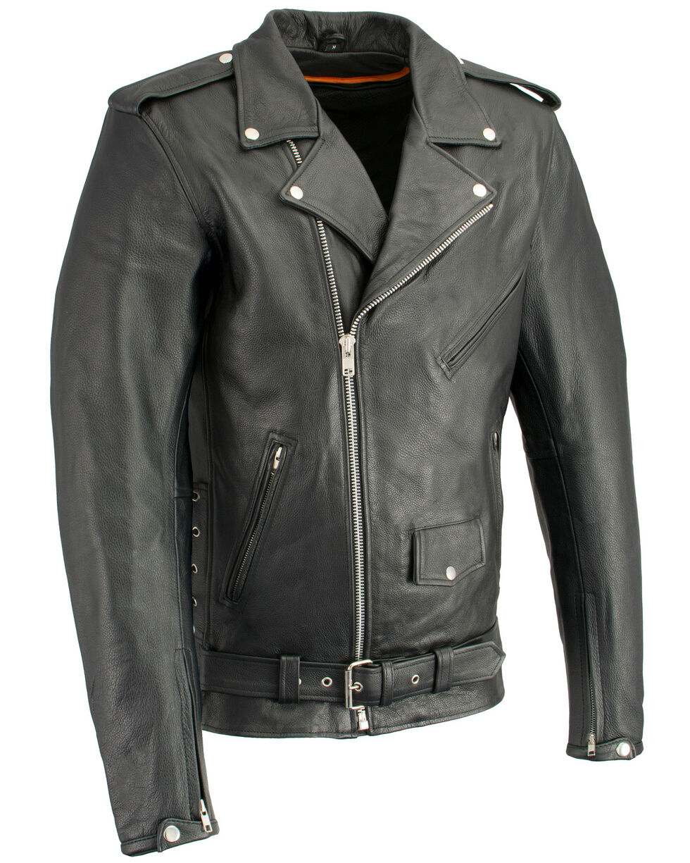 Milwaukee Leather Men's Classic Side Lace Concealed Carry Motorcycle Jacket - 3XTall, Black, hi-res