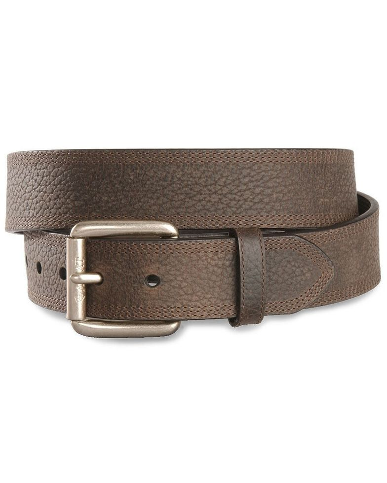 Ariat Men's Triple Row Stitch Leather Belt, Brown, hi-res