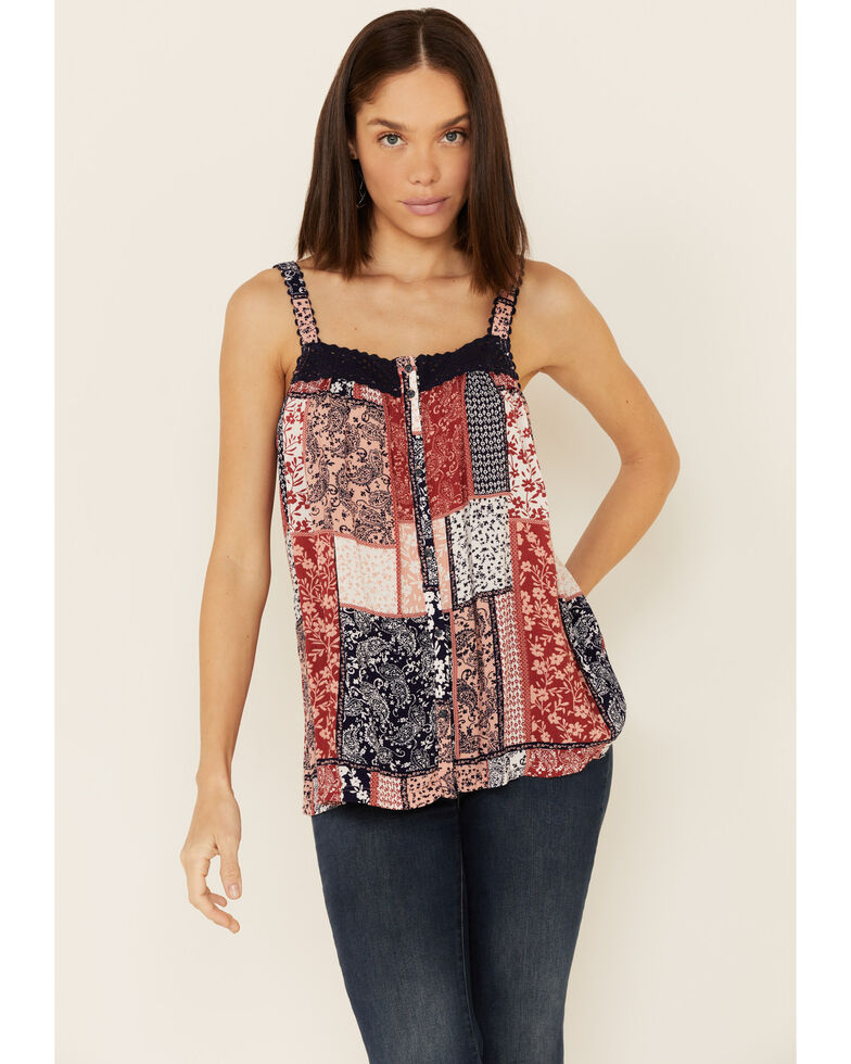Ariat Women's Multi Print Alicia Rayon Crinkle Tank Top , Multi, hi-res