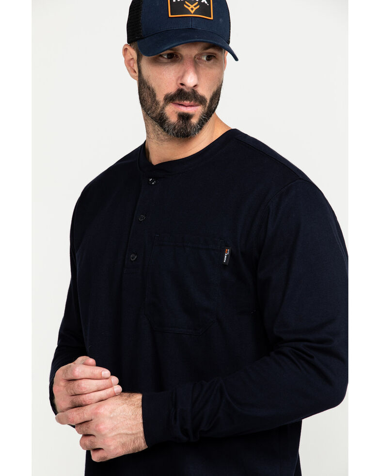 Hawx Men's FR Pocket Henley Long Sleeve Work Shirt - Tall , Navy, hi-res