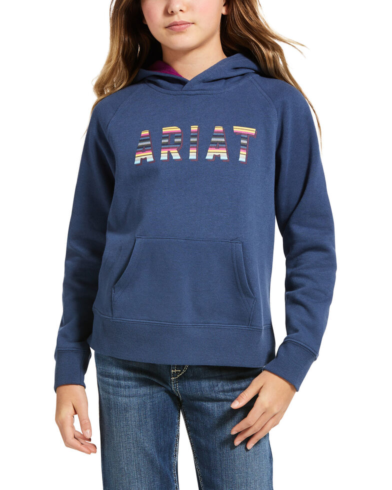 Ariat Girls' Navy Serape Logo Hoodie , Navy, hi-res