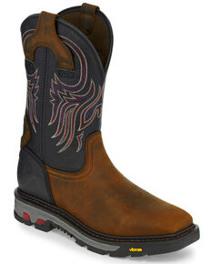 Justin Men's Tanker Western Work Boots - Square Toe, Brown, hi-res