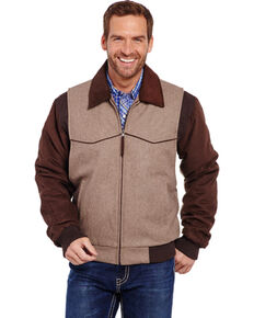 Circle S Men's Leather and Wool Winter Coat, Oatmeal, hi-res