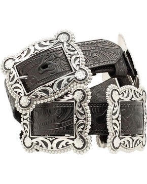 Nocona Sliding Conchos Leather Hip Belt, Black, hi-res