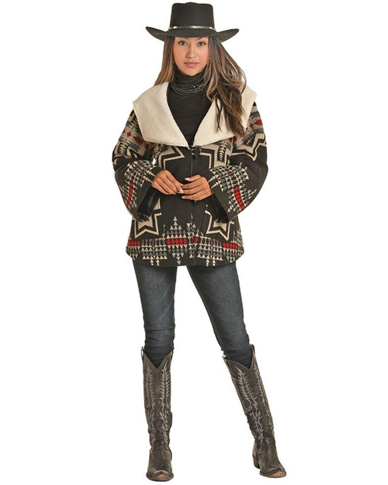 Powder River Outfitters Women's Black Jacquard Aztec Cape Coat , Black, hi-res