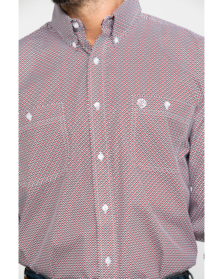 George Strait by Wrangler Men's Red Geo Print Long Sleeve Western Shirt , Red, hi-res