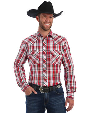 Wrangler Men's Red Plaid Fashion Snap Long Sleeve Western Shirt, Red, hi-res