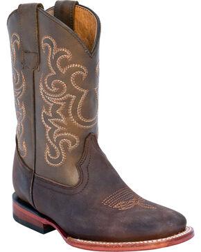 Ferrini Boys' Maverick Western Boots - Square Toe, Chocolate, hi-res