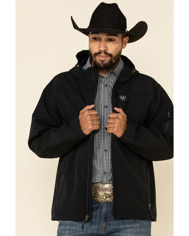 Ariat Men's Black Vernon Hooded Softshell Jacket , Black, hi-res