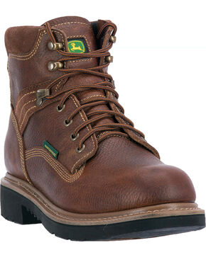 "John Deere Men's 6"" Waterproof Lace-Up Work Boots - Round Toe, Brown, hi-res"