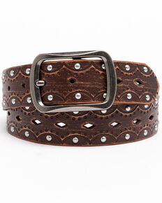 Shyanne Women's Embossed Studded Belt, Brown, hi-res