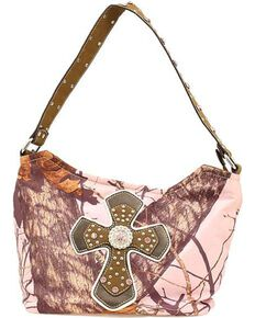 Nocona Belt Co. Women's Mossy Oak Rhinestone Cross Handbag, Pink, hi-res