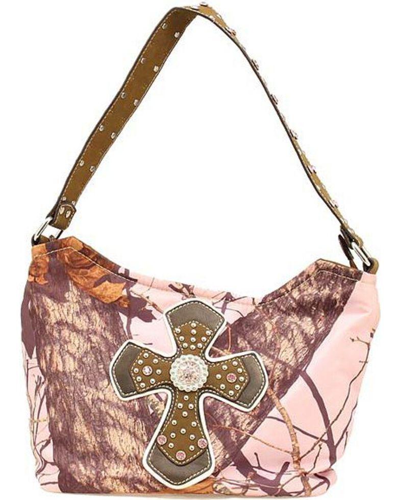 Women S Mossy Oak Rhinestone Cross Handbag Pink Hi Res