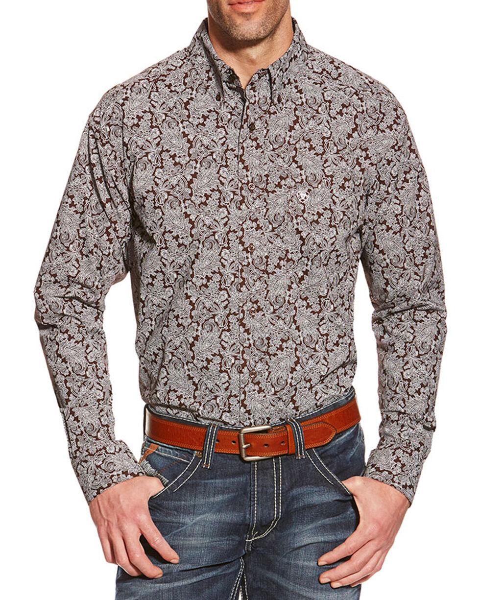 Ariat Men's Livingston Printed Long Sleeve Shirt, Brown, hi-res