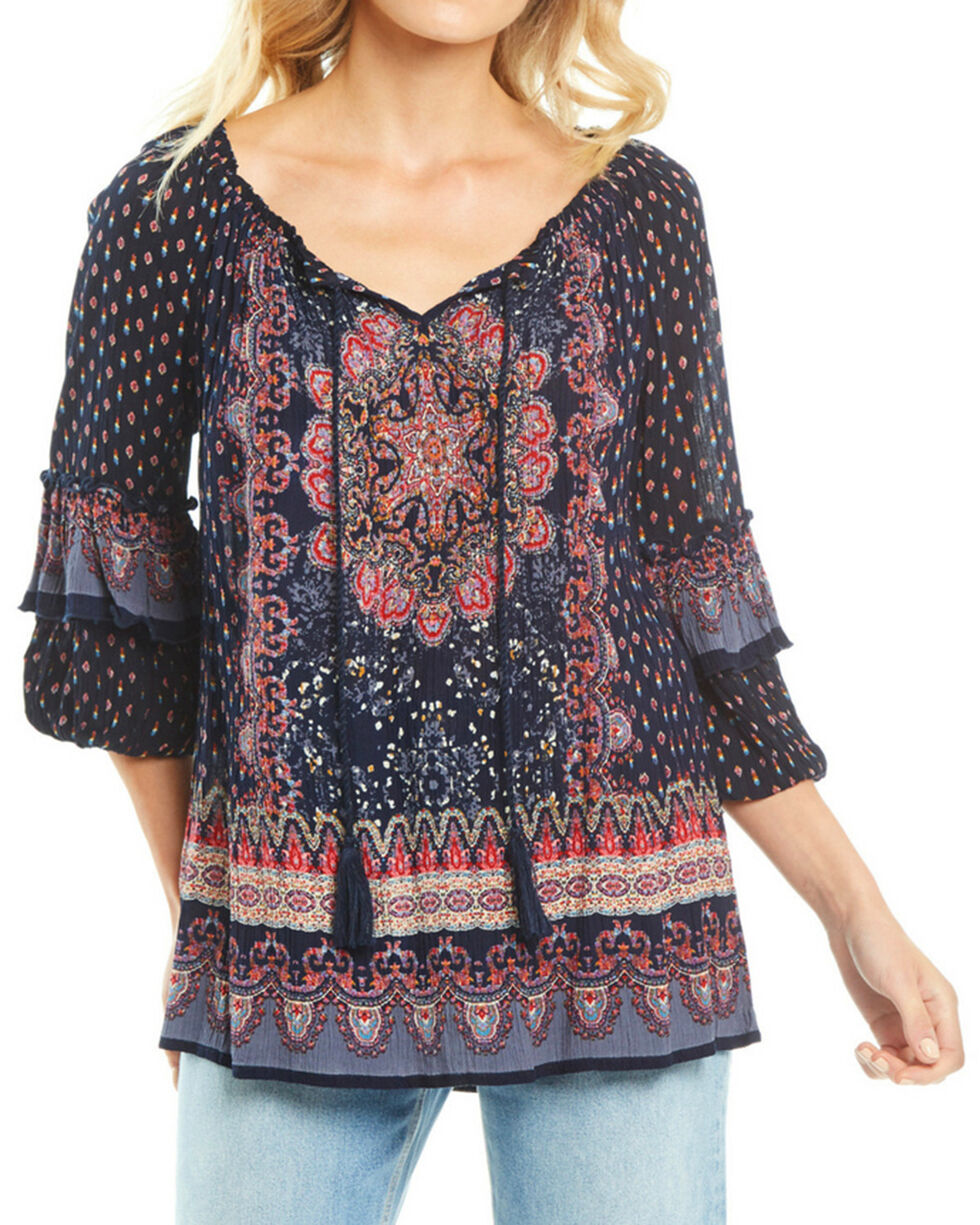 Bila Women's Navy Border Print Tassel Blouse , Navy, hi-res