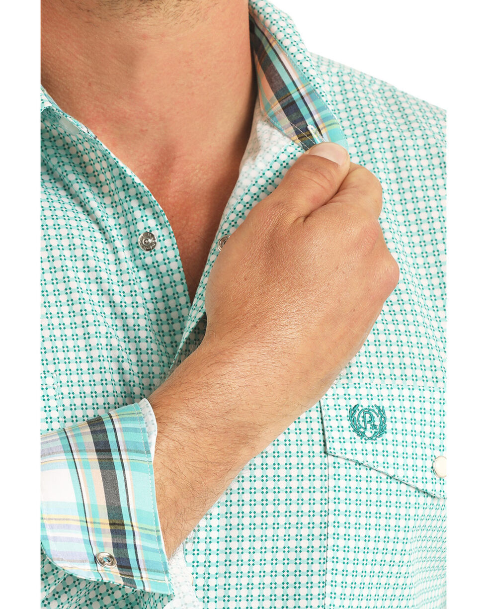 Panhandle Select Men's Turquoise Peached Poplin Print Long Sleeve Western Shirt  , Turquoise, hi-res