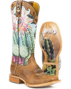 Tin Haul Women's Cactilicious Looking Sharp Sole Cowgirl Boots - Square Toe, Brown, hi-res