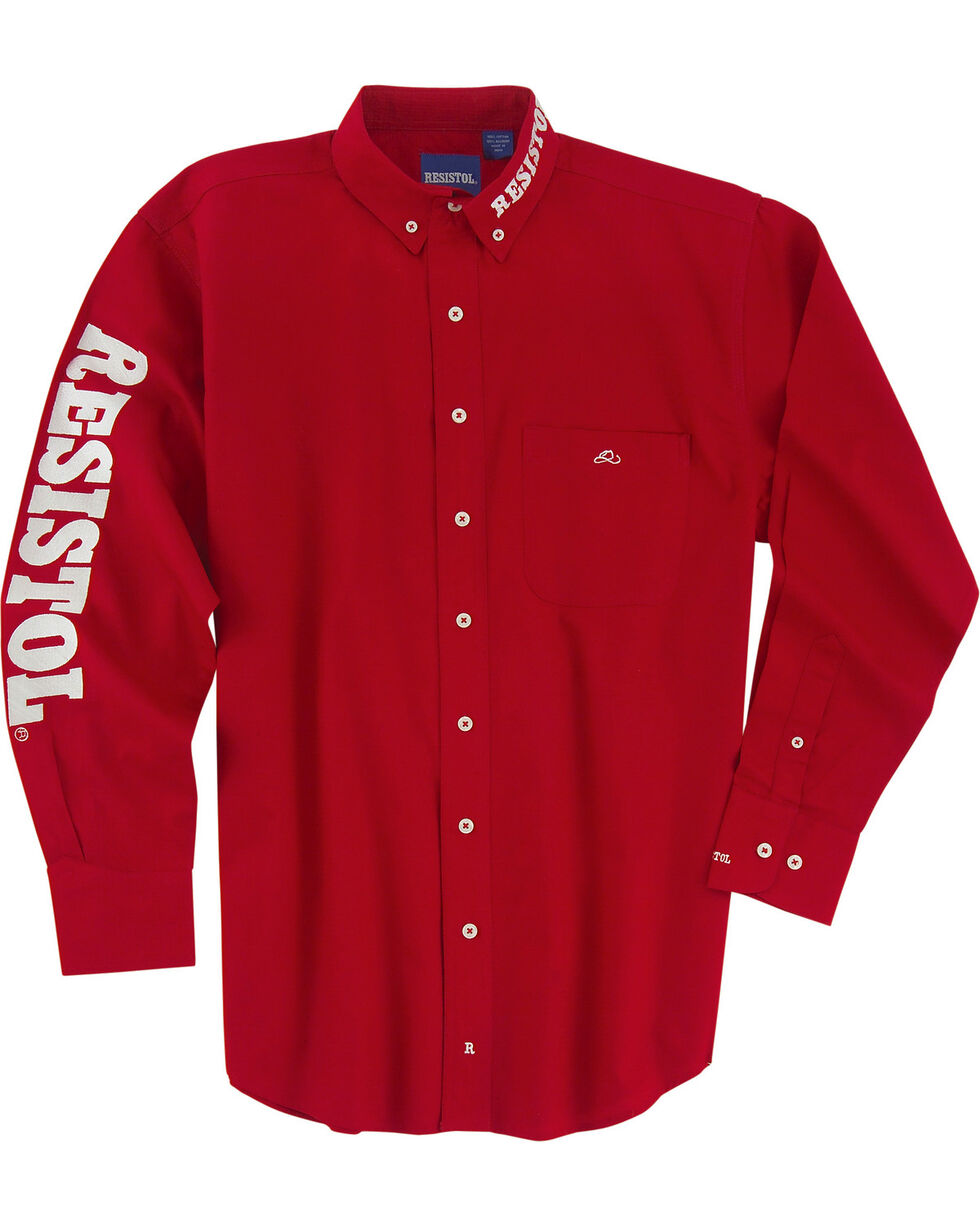 Resistol Men's Logo Long Sleeve Button Down Shirt, Red, hi-res