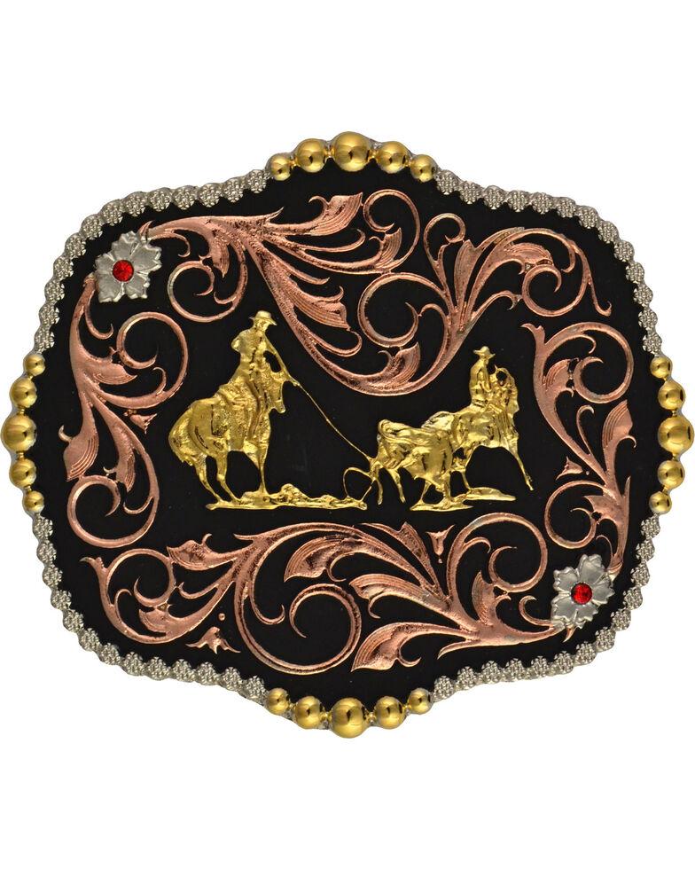 Montana Silversmiths Team Roper Scalloped Belt Buckle, Multi, hi-res