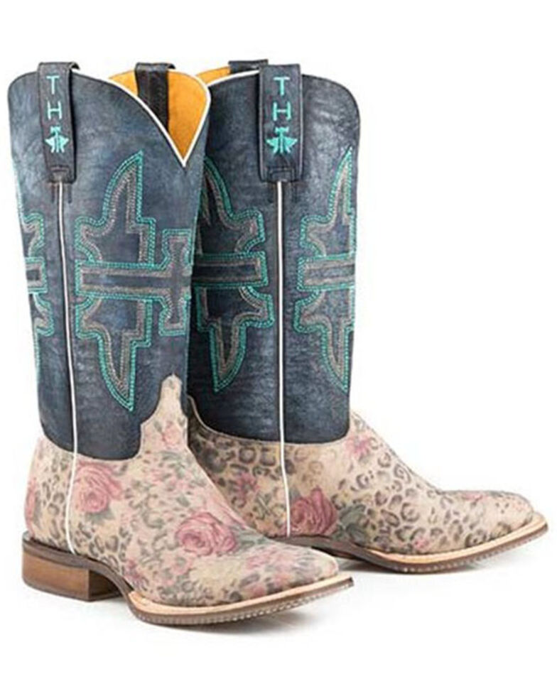 Tin Haul Women's Wild Flower Western Boots - Wide Square Toe, Multi, hi-res