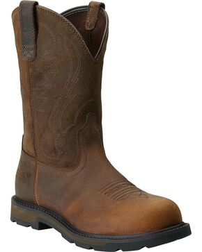 Ariat Groudbreaker Pull-On Work Boots - Steel Toe, Brown, hi-res