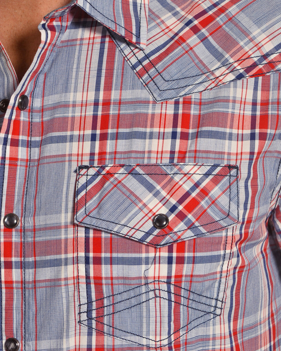 Cody James Men's Radar Plaid Short Sleeve Western Snap Shirt - Big & Tall, Blue, hi-res