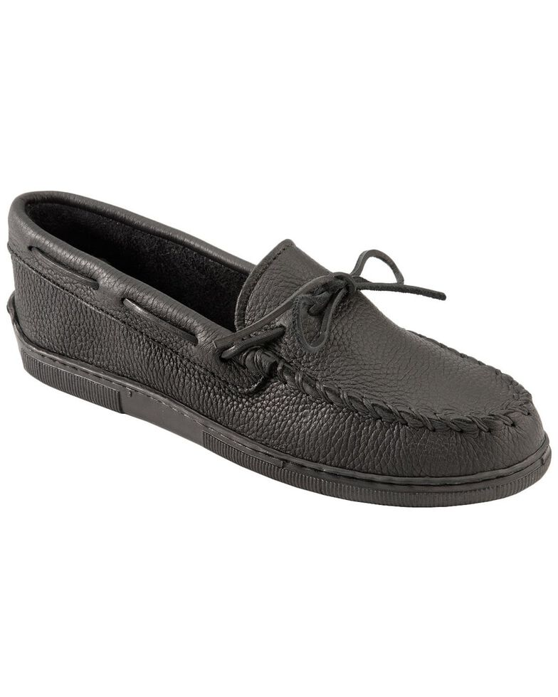 Men's Minnetonka Moosehide Classic Moccasins - XL, Black, hi-res