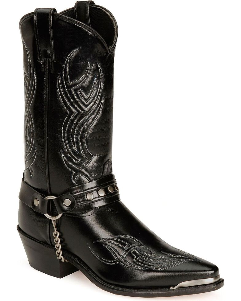 "Sage Boots by Abilene Men's 12"" Harness Boots, Black, hi-res"