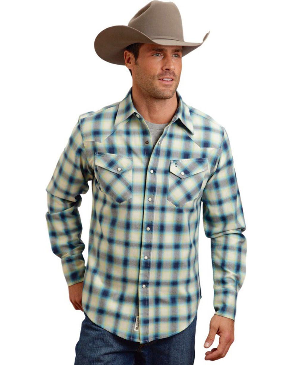 Stetson Men's Wide Plaid Patterned Long Sleeve Shirt, Blue, hi-res