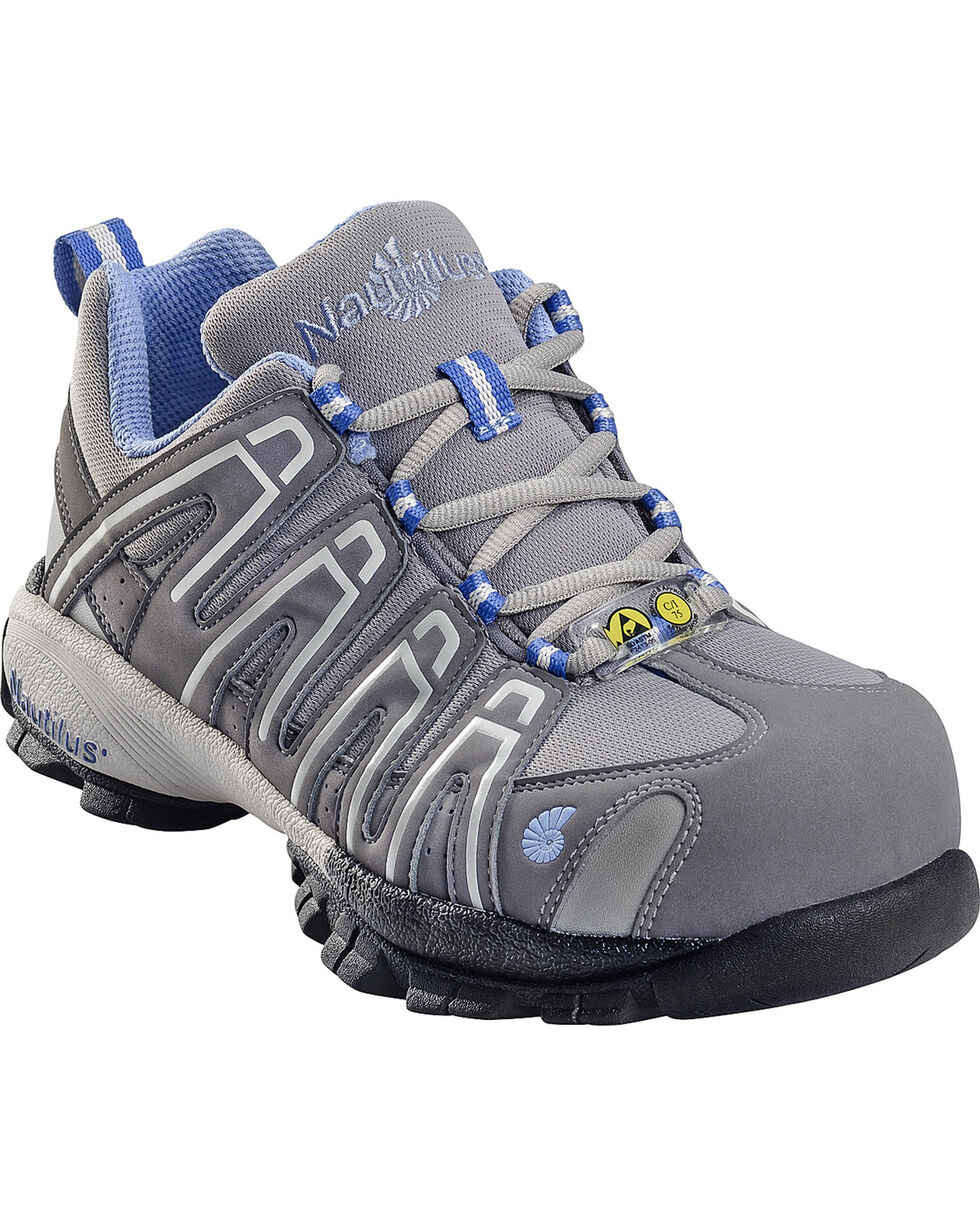 Nautilus Women's ESD Composite Toe Lace Up Shoes, Grey, hi-res