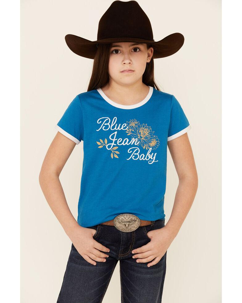 Cruel Girl Girls' Blue Jean Baby Graphic Ringer Tee , Blue, hi-res