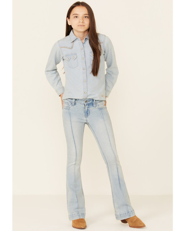 Rock & Roll Denim Girls' Light Wash Front Seam Trouser Jeans , Light Blue, hi-res