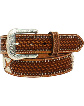 Ariat Men's Basketweave Flower Concho Western Belt , Tan, hi-res