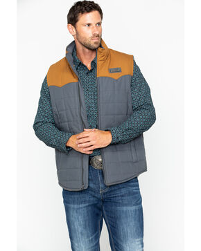 Cinch Men's Wax Coated Quilted Canvas Vest, Burgundy, hi-res