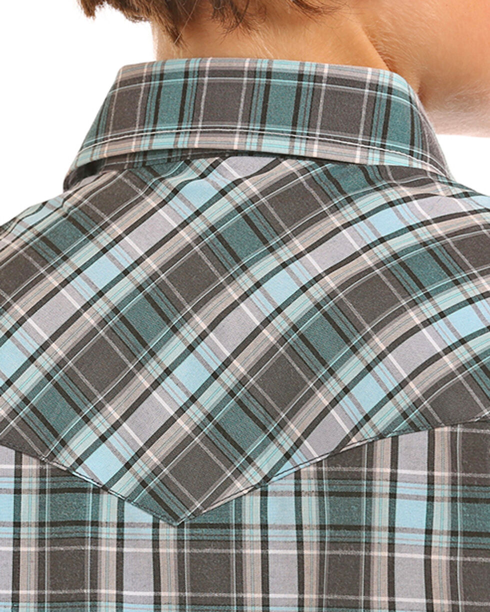 Rock & Roll Cowboy Boys' Turquoise Yarndye Plaid Snap Shirt , Turquoise, hi-res