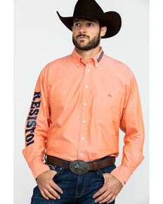 Resistol Men's Big Bass Logo Button Long Sleeve Western Shirt , Orange, hi-res