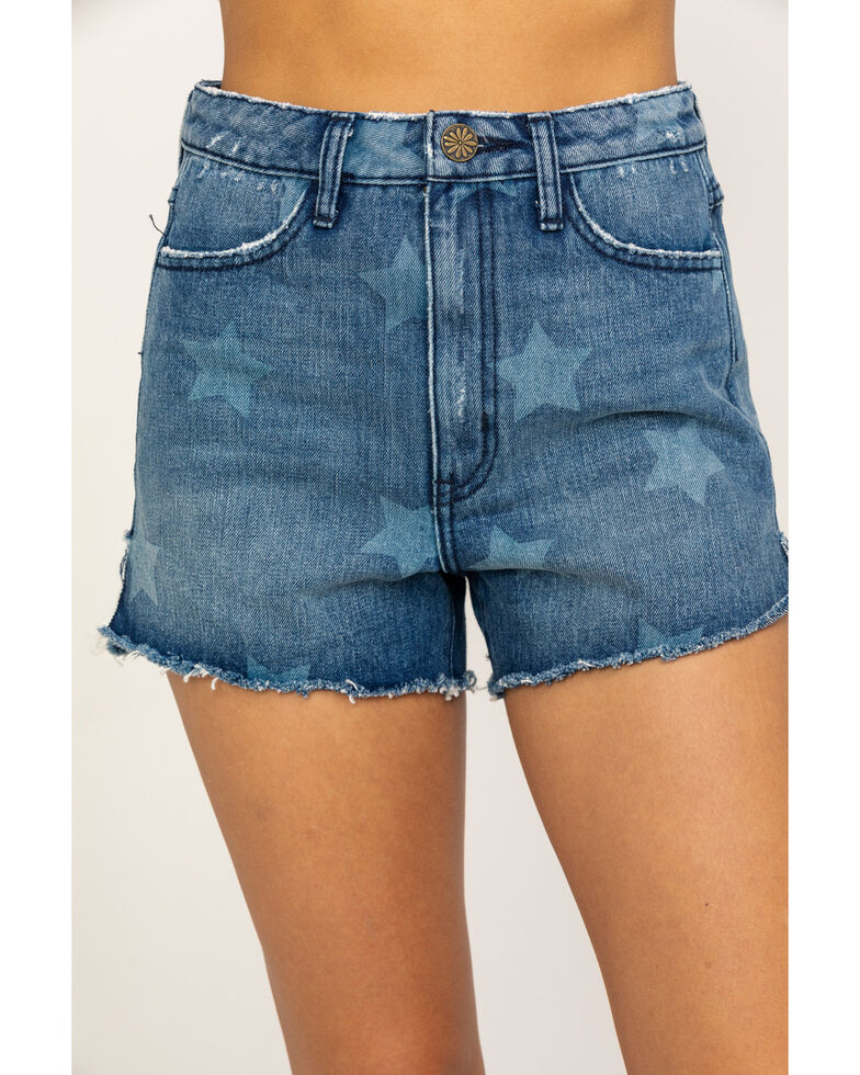 Show Me Your Mumu Women's Arizona High Waisted Stellar Star Shorts, Blue, hi-res