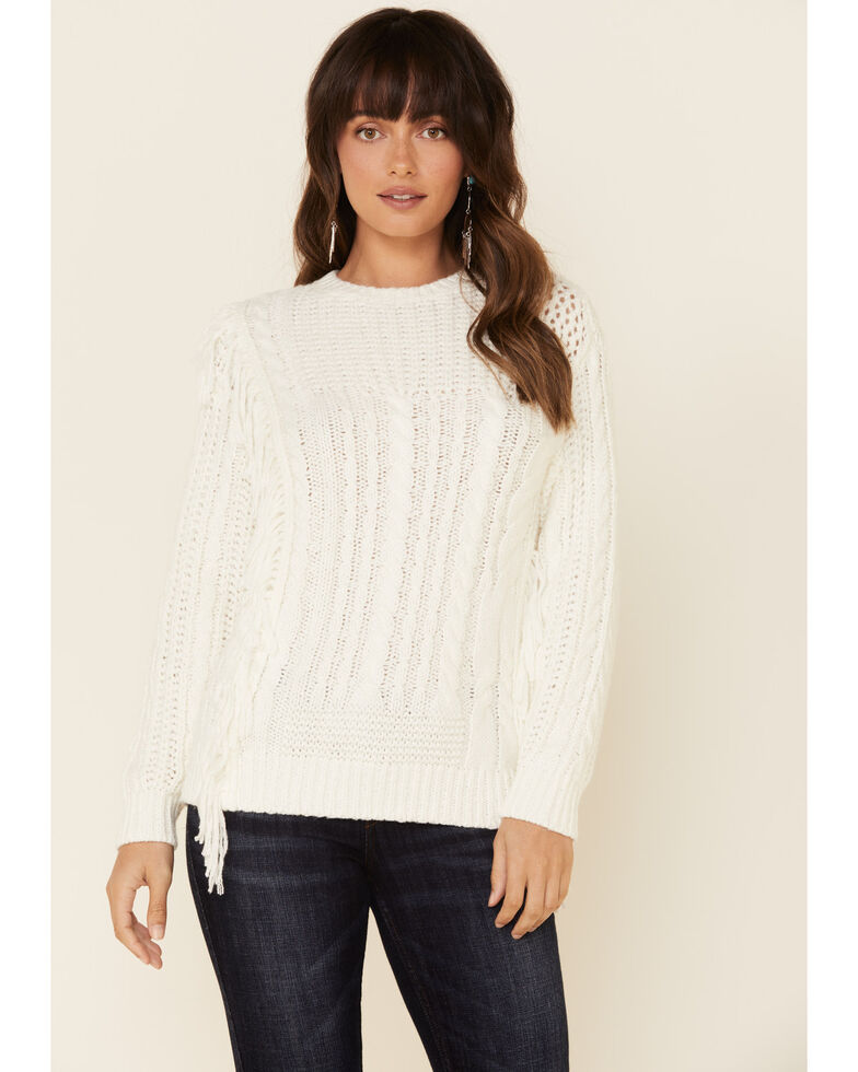 Idyllwind Women's Fringe Crew Pullover Sweater , Ivory, hi-res