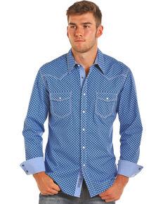 Rock & Roll Cowboy Men's Blue Diamond Print Western Shirt , Blue, hi-res