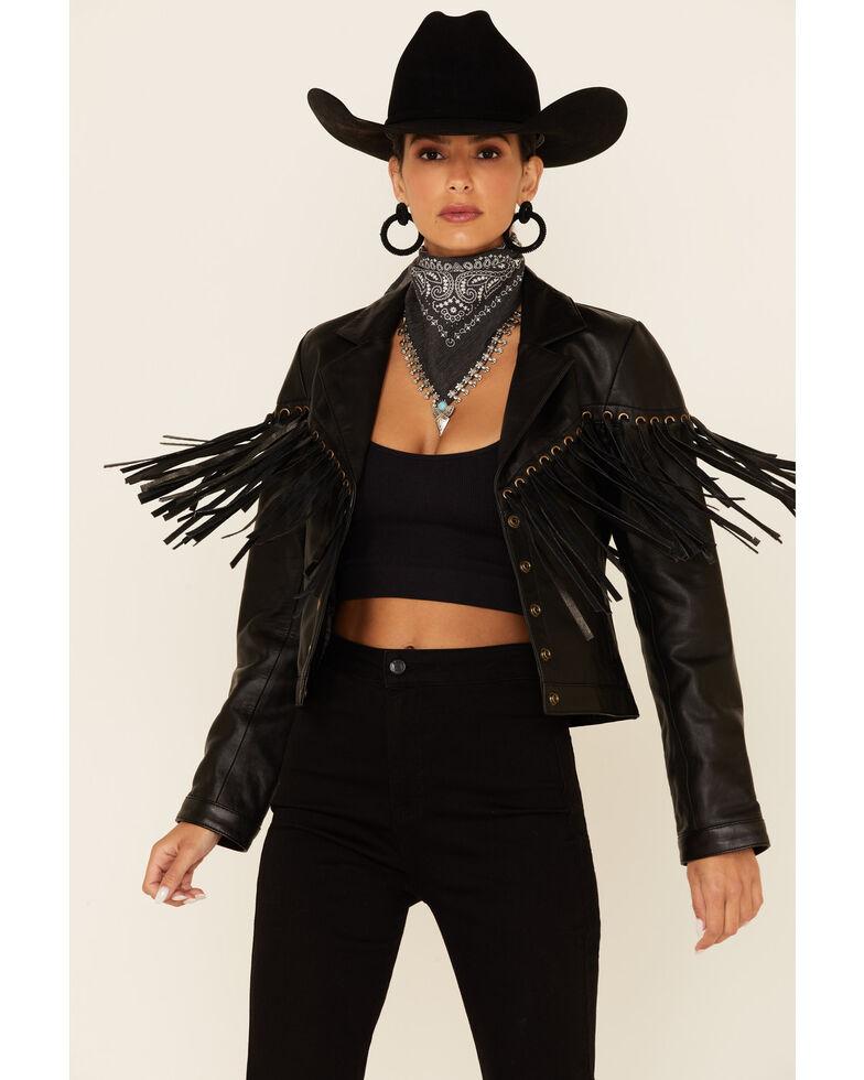 Understated Leather Women's Motive Eyelet Snap-Front Leather Jacket , Black, hi-res