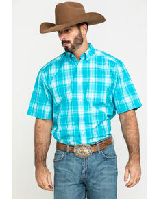 Ariat Men's Kentfield Med Plaid Short Sleeve Western Shirt - Tall , Blue, hi-res