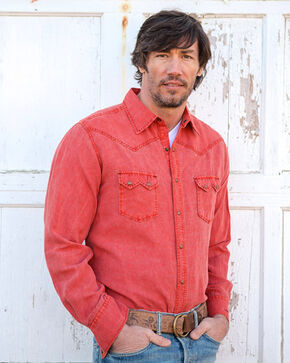 Ryan Michael Men's Red Saw Tooth Pick Stitch Shirt , Red, hi-res