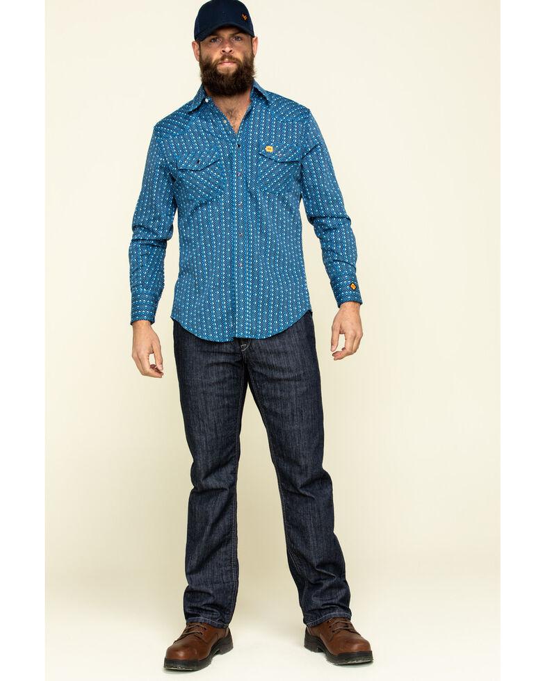 Wrangler 20X Men's FR Blue Geo Print Long Sleeve Work Shirt - Tall , Blue, hi-res