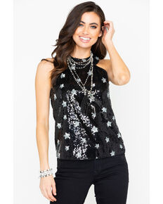 Dance & Marvel Women's Sequin Star Print Halter Top , Black, hi-res