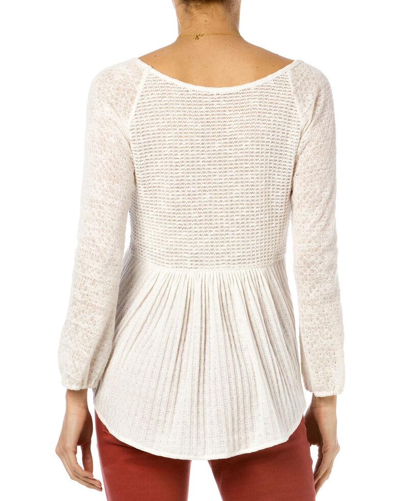 Miss Me Natural Mix Match Crochet Long Sleeve Top Boot Barn