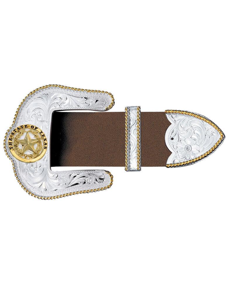 Montana Silversmiths Texas Star Silver Engraved Gold Trim 3-Piece Belt Buckle Set, Multi, hi-res