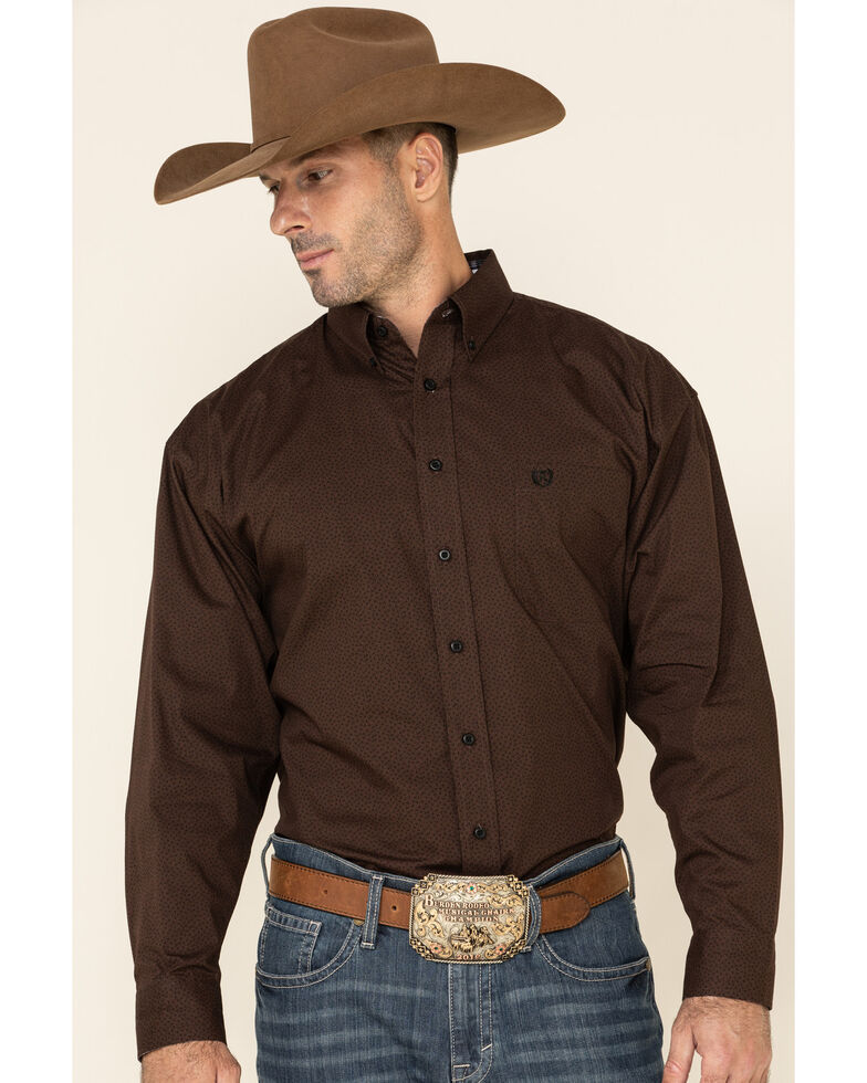 Panhandle Select Men's Brown Small Geo Print Long Sleeve Western Shirt , Brown, hi-res