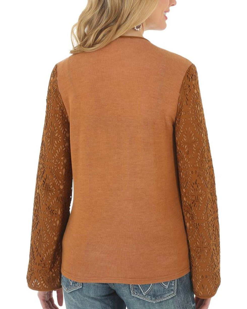 Wrangler Women's Faux Suede Knit Back Sweater, Tan, hi-res